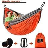 "Camping Hammocks with Adjustable Tree Straps, Outdoor Double Ultralight Portable Nylon Parachute Adjustable Hammocks for Backpacking, Hiking, Travel, Beach, Yard (Grey)-(L x W)118""x 79"""