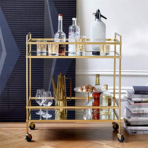 Iron Glass Serving Trolley Wheeled Bedroom Gold Double Mini Wine Rack Vintage Storage Cafe Restaurant 72×36×82cm