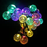 Garden Mile  Multi-Coloured String Lights 19.7ft 30 LED Crystal Ball Covers Waterproof Outdoor String Lights Solar Powered Globe Fairy Orb Lantern String Lights Ambiance Lighting for Outside Garden Yard Home Landscape Halloween Christmas Party Decora