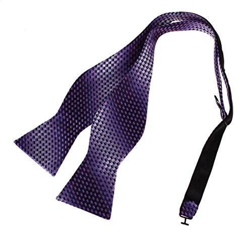 Dan Smith DBA7B21B Purple Working Mens Patterned Self-tied Bowtie Graduation Gift Idea Microfiber Italian Woven Polyster Self -