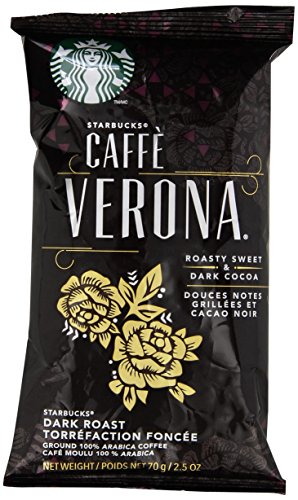 Starbucks SBK11018192 Drip-Brewing Single Pot Portions Caffe Verona Ground Coffee Packets, Dark Roast (Pack of 18)