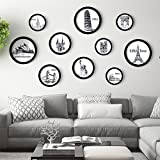 TIANTA- Sofa Background Wall Living Room Decoration Painting Creative Round Frame Wall Photo Frame Korean Style Frame Diy Solid Wood Children Photo Frame adorn ( Color : #3 )
