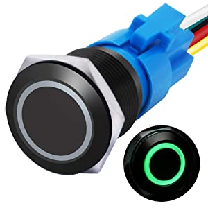 "mxuteuk 19mm Momentary Push Button Switch 1 NO 1 NC SPDT ON/Off Black Metal Shell with 12v Green LED Ring with Wire Socket Plug Suitable for 3/4"" Mounting Hole M-19-O-B-G"