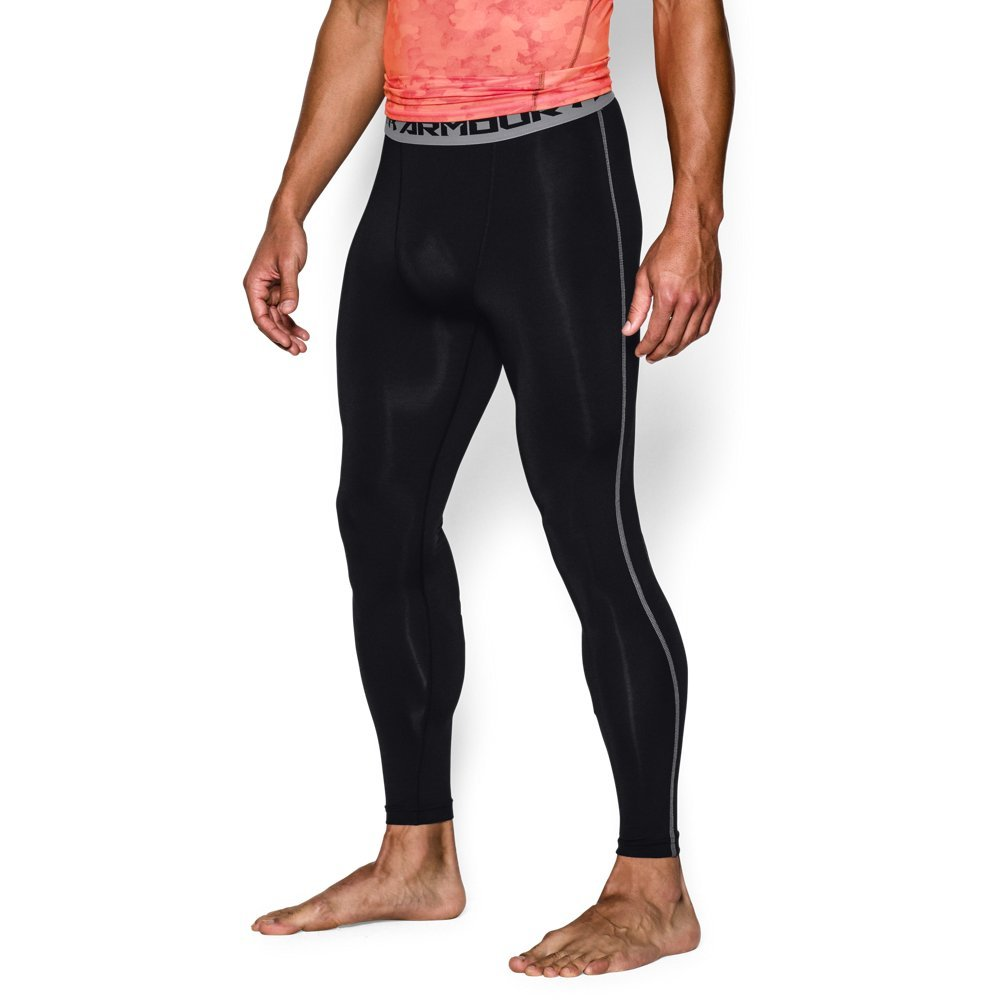 Under Armour Men's HeatGear Armour Compression Leggings, Black /Steel, XXX-Large
