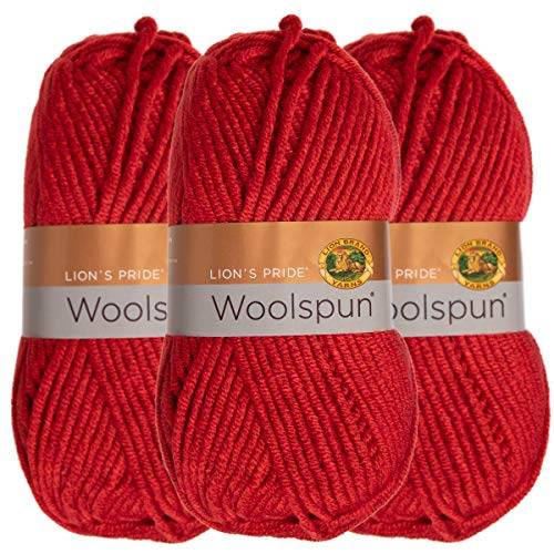 Lion Brand (3 Pack) Woolspun Acrylic & Wool Soft Tomato Red Yarn for Knitting Crocheting Bulky #5