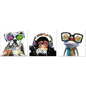 Visual Art Decor Funny Animals Canvas Wall Art Modern Gorilla Monkey Music Oil Painting Wall Picture Happy Dog Frog Canvas Prints Home Office Living Room Decoration (20x20x3)
