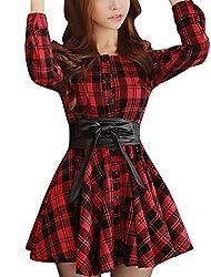 Allegra K Lady Single Breasted Plaids Pattern Casual Shirt Dress w Belt