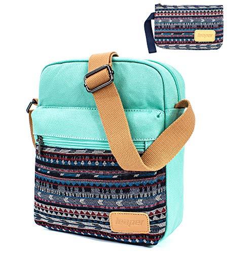 Leaper Canvas Messenger Bag Crossbody Bag Purse Shoulder Bag Water Blue [A3]