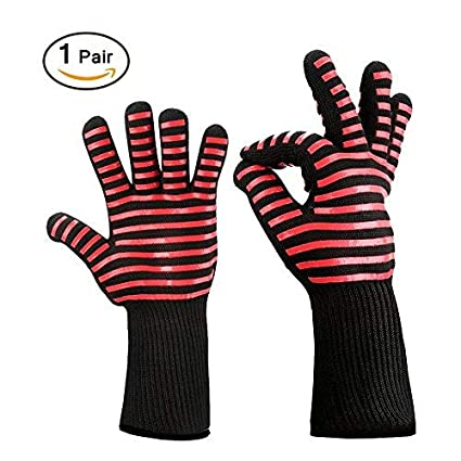 1 Pair BBQ Grilling Gloves 932? Extreme Heat Resistant Oven Gloves, Flexible Kitchen Cooking Gloves Oven Mitts Insulated Silicone Lined Aramid Fiber