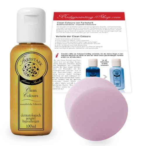 Farbstark Bodypainting Farben - hautfreundliche Körperfarbe in Profi Qualität (auch für Airbrush geeignet), Set: 100 ml Farbe Gold + Schminkschwamm
