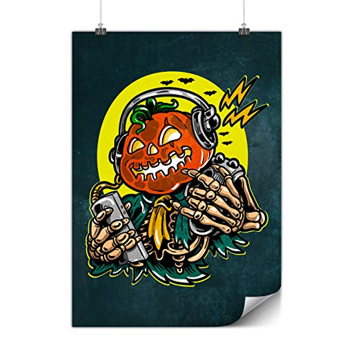 (wellcoda Pumpkin Party DJ Poster Halloween A4 (8″ x 12″) Glossy Heavy Weight Paper, Ideal for Framing, Easy to Hang)