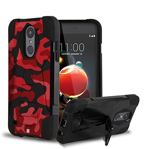 Rubberized Case Protector Shield Black (LG ARISTO 2/TRIBUTE DYNASTY SP200 CRYSTAL Case, Trishield Gear Dual layer Hybrid Rugged Black Phone Cover With Built In Kickstand Red Camouflage)