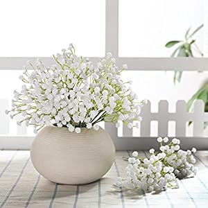 JUSTOYOU 10pcs Babies Breath Flowers Artificial Fake Gypsophila PU Silica for Wedding Bridal Bouquet Home Floral Arrangement White 78