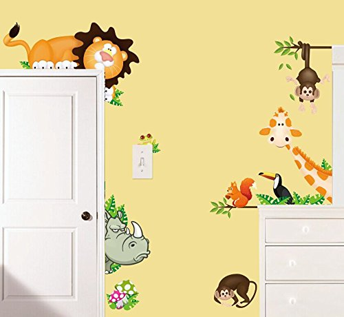 Jungle Wild animals get in your room hide and seek wall stickers for kids room PVC decals home decor Removable wall stickers (Copter (Spirit Halloween Costume Phone Number)