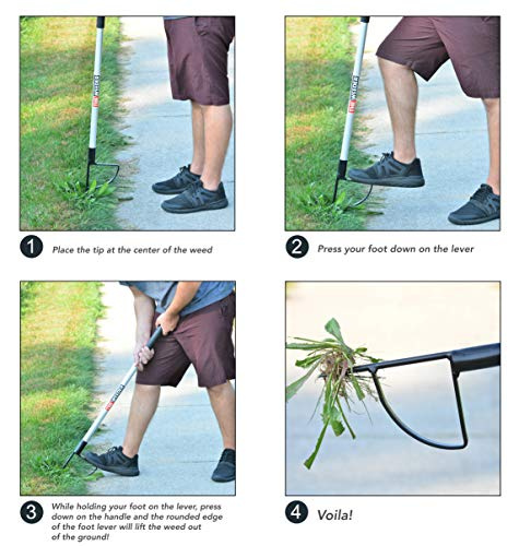 This tool allows you to pull weeds without bending over