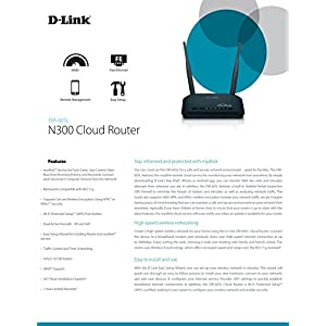 D-Link Wireless N 300 Mbps Home Cloud App-Enabled Broadband Router (DIR-605L),Black