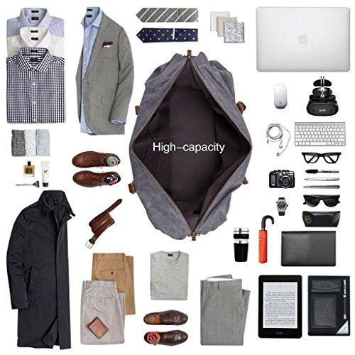 Plambag Oversized Duffel Bag, Waterproof Canvas Leather Trim Overnight Luggage Bag(Grey) by Plambag (Image #4)