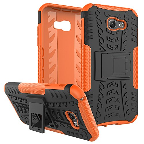 """Galaxy A7 (2017) Case, SsHhUu Tough Heavy Duty Shock Proof Defender Cover Dual Layer Armor Combo Protective Case Cover for Samsung Galaxy A7 (2017) (5.7"""") Orange"""