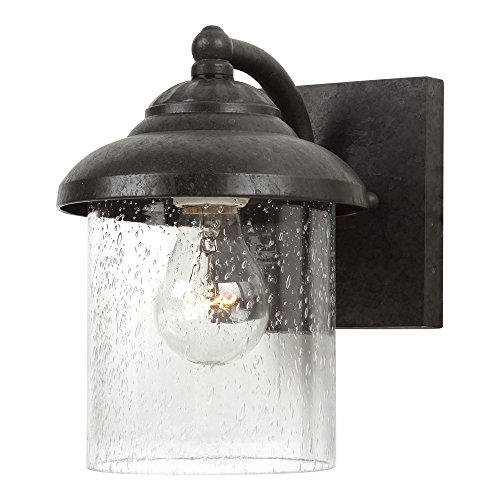 Sea Gull Lighting 84068-746 Lambert Hill One-Light Outdoor Wall Lantern with Clear Seeded Glass Shade, Oxford Bronze Finish ()