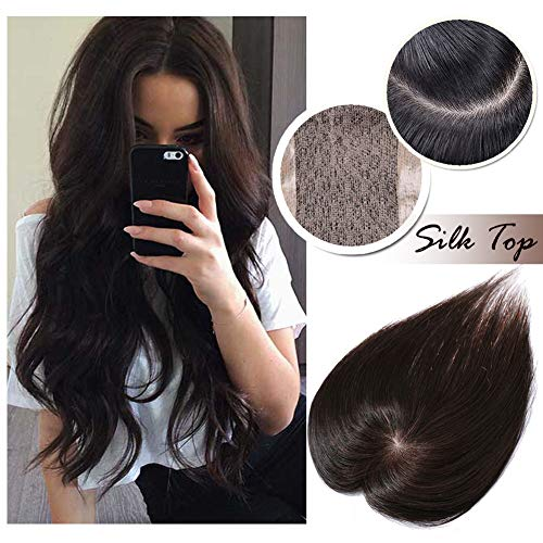 (Clip in Topper for Women Human Hair Crown Toupee Silk Base at Middle PU Around Wiglet Hand-made Top Hairpieces Middle Part with Thinning Hair(14