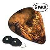 Nice Music Angry Flames Fire Krampus Christmas Ultra Thin 0.46 Med 0.71 Thick 0.96mm 6 Pieces Each Base Prime Celluloid Ivory Jazz Mandolin Bass Ukelele Plectrum Guitar Pick Pouch Display