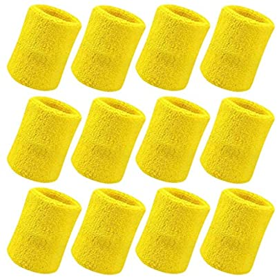 FABSELLER Sports Sweatbands Wristbands Elastic Athletic Cotton Wrist Bands for Exercise Football Basketball Running Fitness Tennis Soccer Set 12 Yellow Estimated Price £2.69 -