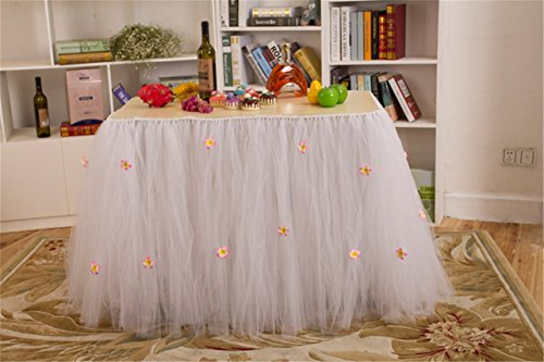 Shinestar Handmade Flower Table Tutu Skirt Tulle Tableware for Wedding Birthday Baby Shower Party Decoration (White)