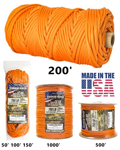 Nylon Parachute Cord (TOUGH-GRID 750lb Neon (Safety) Orange Paracord / Parachute Cord - Genuine Mil Spec Type IV 750lb Paracord Used by US Military (MIl-C-5040-H) - 100% Nylon - Made In USA. 100Ft. - Neon (Safety) Orange)