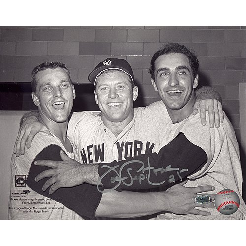 MLB Joe Pepitone Hugging Mantle/Maris Horizontal B/W Autographed 8-by-10-Inch - Mlb Memorabilia