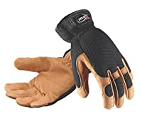 Galeton 9120050-L Max Extra Pigskin Palm Mesh Back Utility Work Gloves with Slip-on Cuff, Large, Beige/Black, Polyester, Spandex, Leather