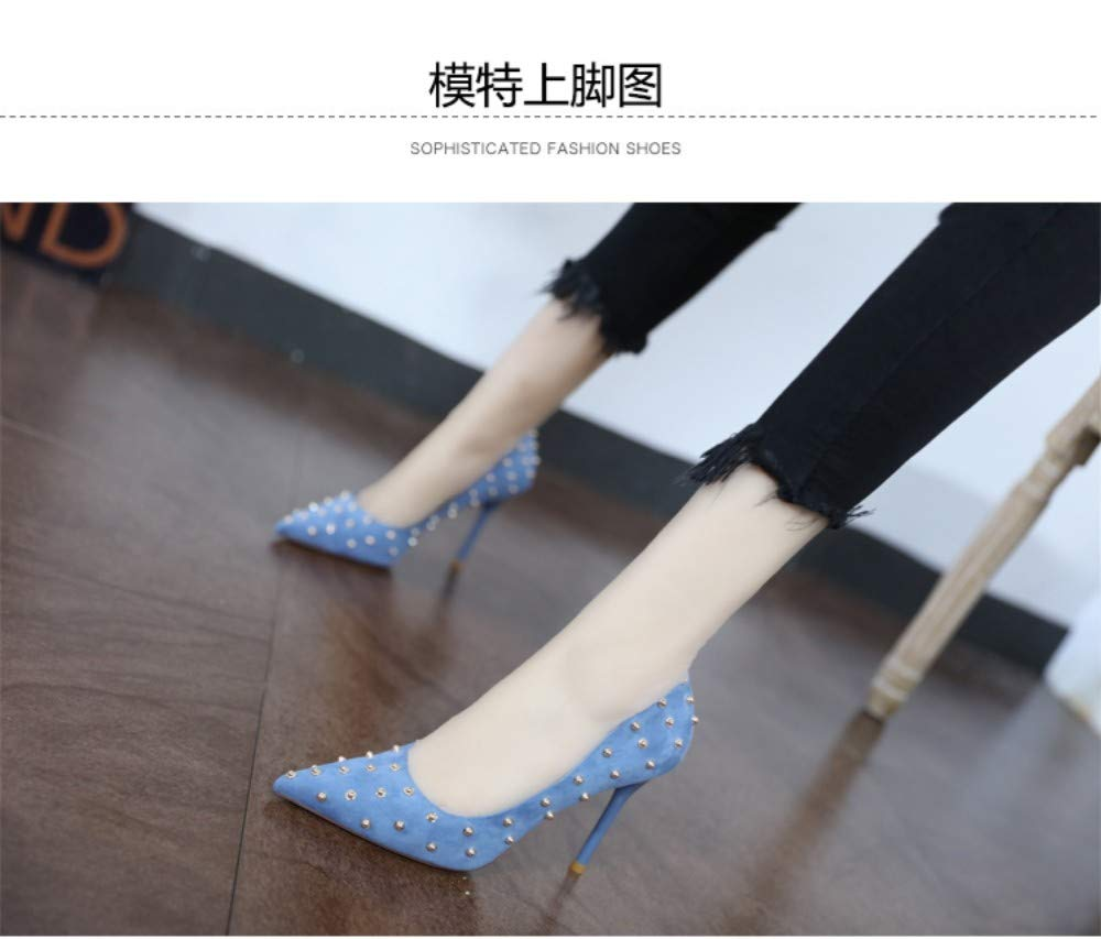 39 ZZDSH Fresh Blue High Heels Female Spring Temperament Suede Pointed Shallow Mouth Stiletto Shoes