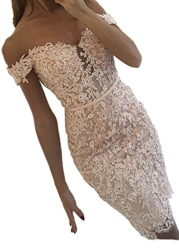 maid Lace Cocktail Dresses Off Shoulder Party Formal Gown Blush Size 10 ()