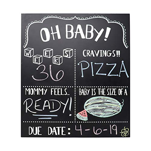 JennyGems Pregnancy Announcement Chalkboard and Photo Prop - Pregnancy Tracker Chalkboard - Extra Large Size 14 x 16 - Gender Reveal Monthly Milestones Countdown Week by Week Tracker Board (Best Pregnancy Announcement Photos)