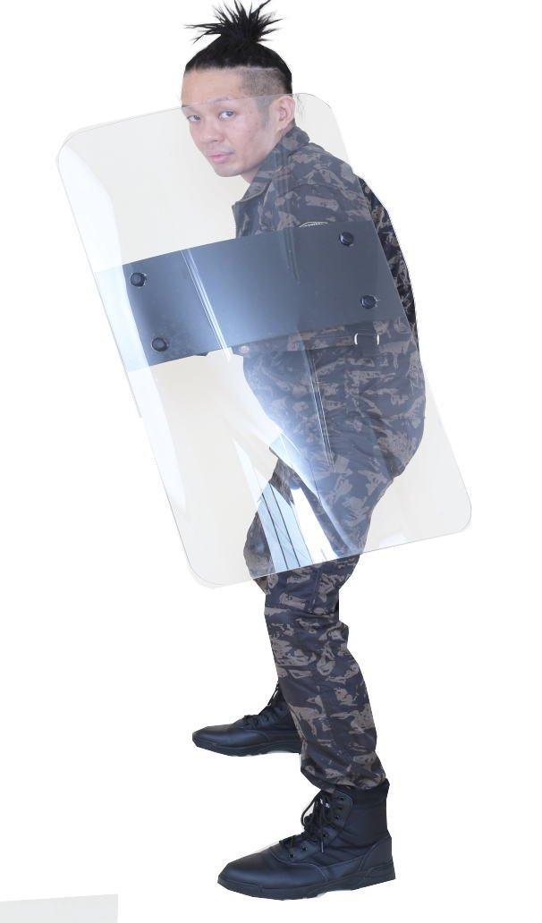 Catsobat 両利き対応 防護クリアロングシールド サバイバルゲーム装備品 SWAT&POLICEワッペン付き マルチグリップ セキュリティー透明防弾シールド B01GWRUZKE