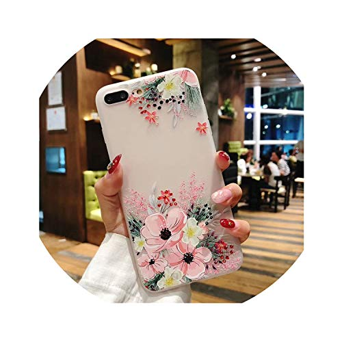 Poooyun-Life Phone Case for iPhone XR Case Silicone Cute Shockproof for iPhone 5S Case 3D Matte for iPhone 6 7 8 Plus X XS MAX,Flower 10,for iPhone 8 Plus