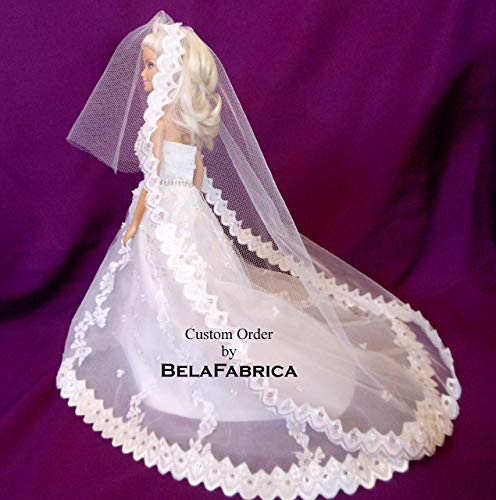 Wedding Cake Topper Bridal Shower Gift Centerpiece Custom Miniature Replica Gown Lace Mantilla Cathedral Veil Tiara Scalloped Handmade 1:12 1:6 1/6 scale Doll Gift for Bride Keepsake Mini Dress