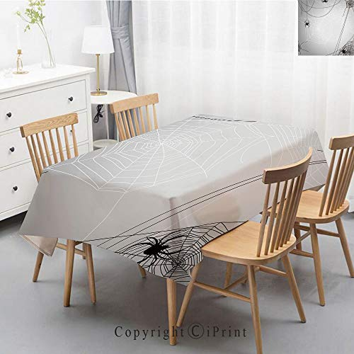 Natural Cotton Linen Rectangle Tablecloth Garden Botanic Print Pattern Country Rustic Village Burlap Table Cover Cloth Art,47x63 Inch,Spider Web,Spiders Hanging from Webs Halloween Inspired Design Dan ()