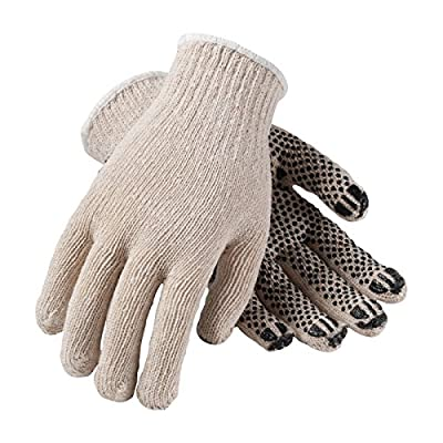 FingerNails 36-C330PD/S Seamless Knit Cotton/Polyester Glove with PVC Dot Grip, Heavy Weight