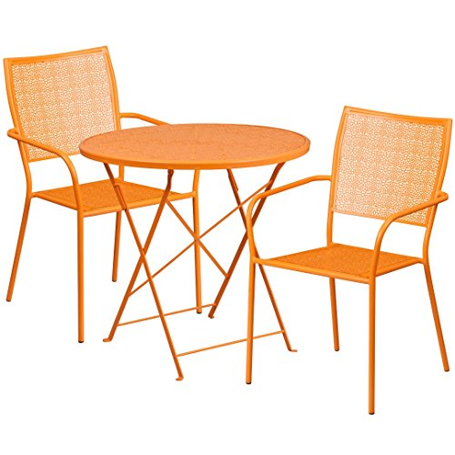 MFO 30'' Round Orange Indoor-Outdoor Steel Folding Patio Table Set with 2 Square Back Chairs