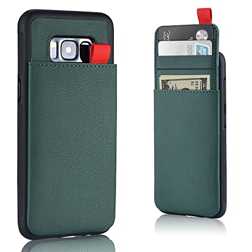 MANGATA Triton Leather Wallet case Compatible with Samsung Galaxy S8 | Slide Out Hidden Wallet Pocket, Rugged Shell | Cruelty Free Leather | Credit Card Holder, Cash Pocket, Screen Protector (Olive) by Mangata Cases