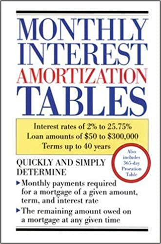 amazon com monthly interest amortization tables 9780809235643