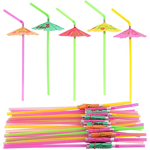 Parasol Straws - FEPITO 58 PCS Umbrella Drinking Straws,Parasol Bendy Drinking Straws for Hawaiian Beach Cocktail Luau Tropical Party Decorations Supplies