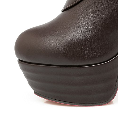 Boots Metal Ornament Stiletto Imitated Leather Ladies BalaMasa Brown Platform qwST1vRv