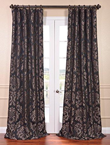 Half Price Drapes JQCH-201301-120 Astoria Faux Silk Jacquard Curtain, Black & Pewter, 50 x 120