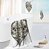 Miki Da Premium Cotton Bath Towels Set Twin Half Fire Design in Hearts Festive nish Print Cream and Black Ultra Absorbent, Super Soft 13.8''x13.8''-11.8''x27.6''-27.6''x55.2''