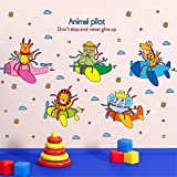YUMULINN wallpaper stickers Wallpapers murals Cartoon cute animal bedroom bedside baby child room boy aircraft kindergarten layout wall stickers stickers, 45X30CM