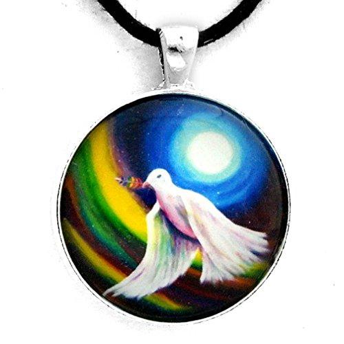 Love is Love Peace Dove Necklace Bird Pendant Unisex LGBTQ Handmade - Necklace Glass Dove