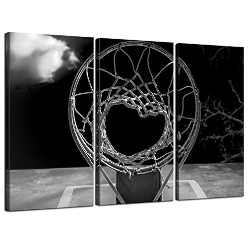 Sea Charm - 3 Panel Canvas Prints Black and White Basketball Hoop Pictures Wall Art Sports Artwork Gallery Canvas Wrapped Ready yo Hang Modern Man Boys Bedroom Wall Decor