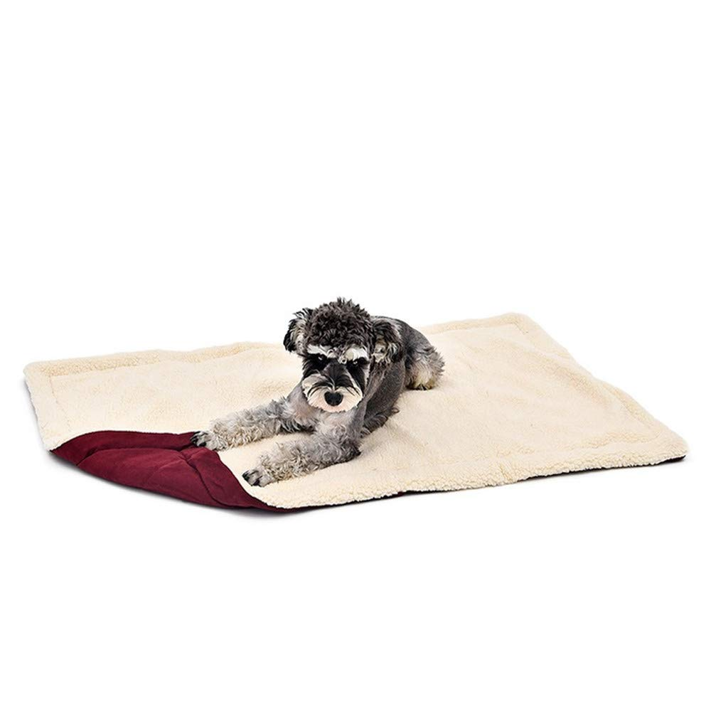 Red MWuwenw Winter Small Medium Pet Large Dog Cat Puppy Fleece Soft Blanket Bed Mat Kennel Warm Bedding Padding House Cozy 4 Size Xsl,bluee,L