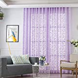AiFish Grommet Sheer Curtains Sheer Voile Lavender Luxurious Lace Window Drapes and Curtains for Kids Bedroom Elegant Rustic Floral Gauze Tulle Curtains for Living Room 1 Panel W52 x L96 inch